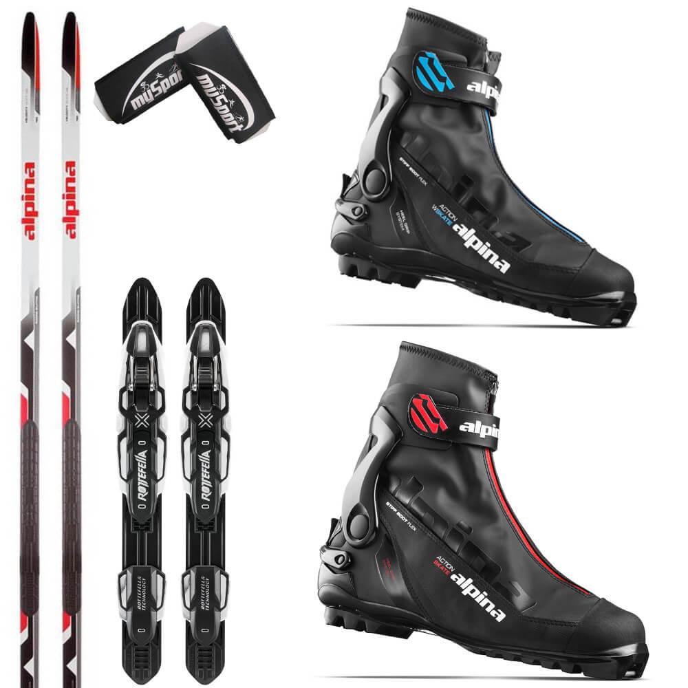 Cross Country Ski Set Skating Alpina Velocity Skate Skis ASK Boots - Alpina skate ski boots