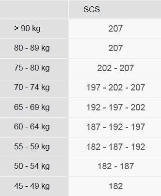 Fischer SCS Classic Size chart
