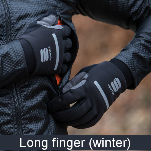 Long winter bicycle gloves