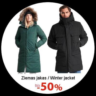 Ziemas jakām līdz -50%