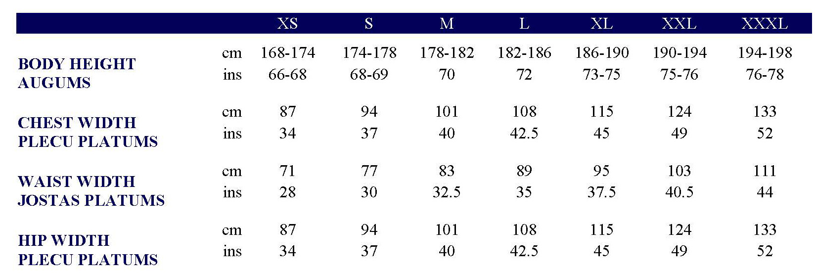 Asics Men's clothing size chart