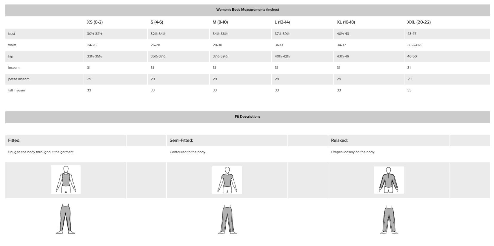 Brooks Size Chart