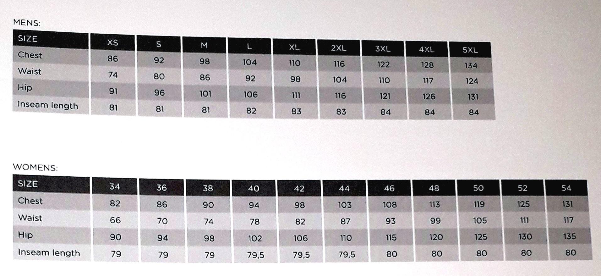 Endurance Size Chart