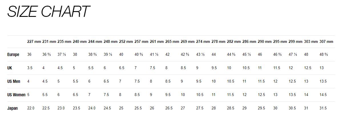 Mavic Size Chart