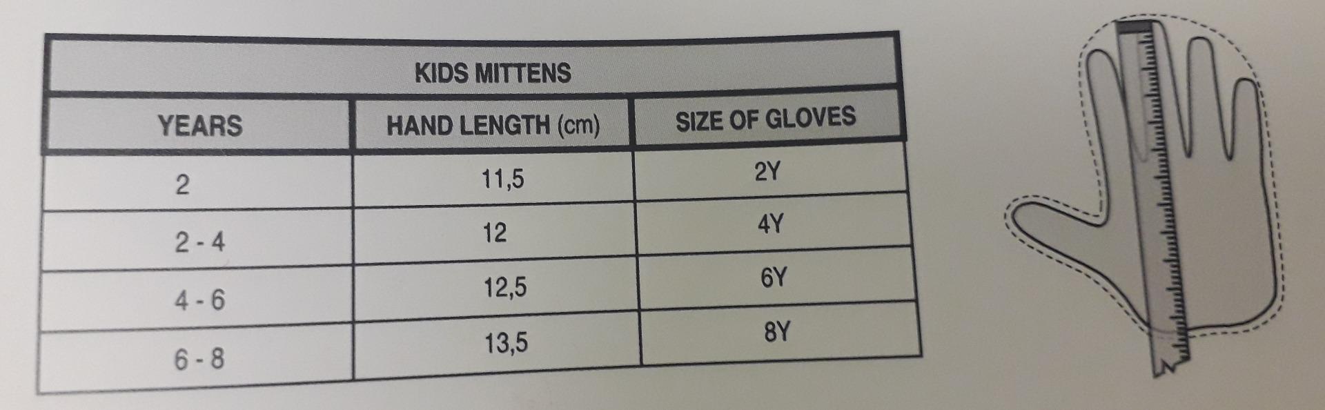 Relax Kids Mitten Size Chart