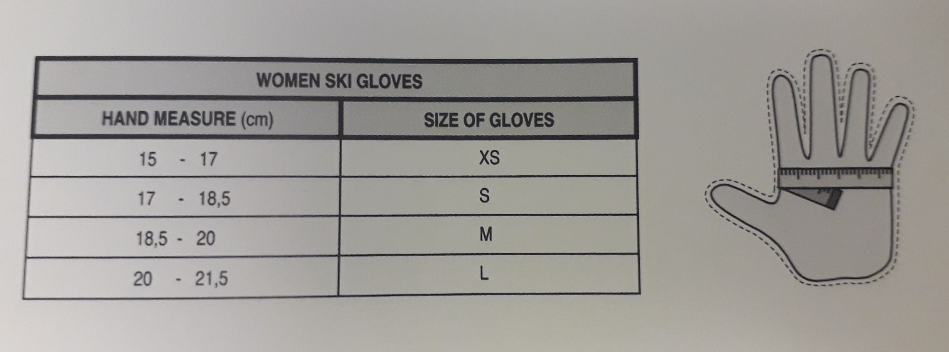Relax Glove Size Chart