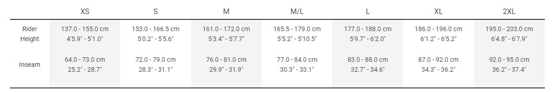 Trekk Size Chart