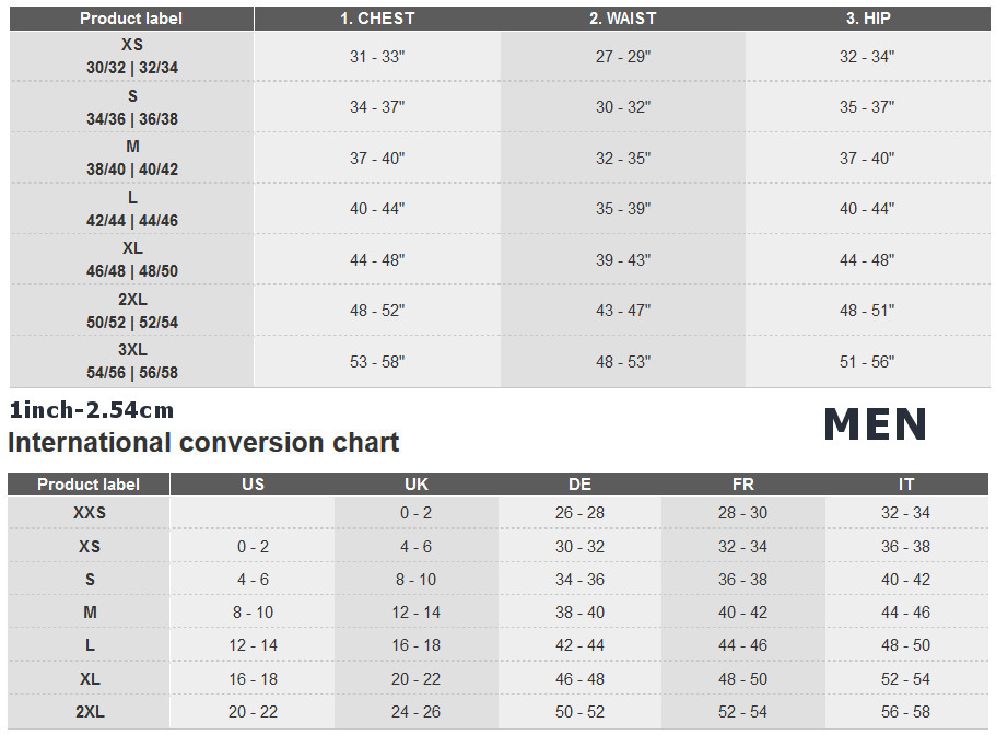 Adidas apparel size chart men