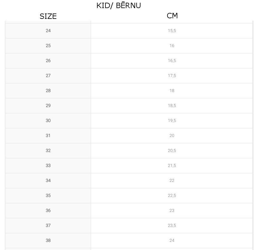 Bagheera Kid's Shoes size chart
