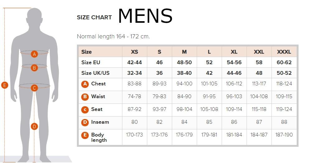 Didriksons Mens Size Chart