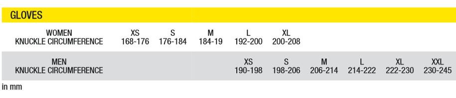 Mavic glove size chart