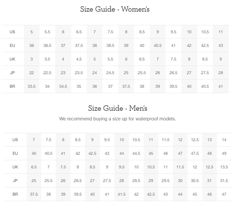 On Shoes size chart