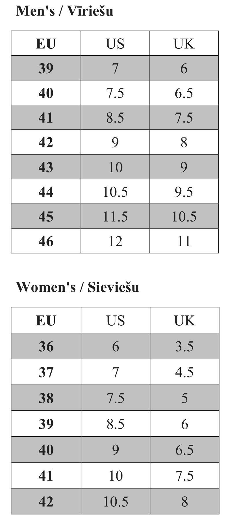 O'Neill footwear size chart