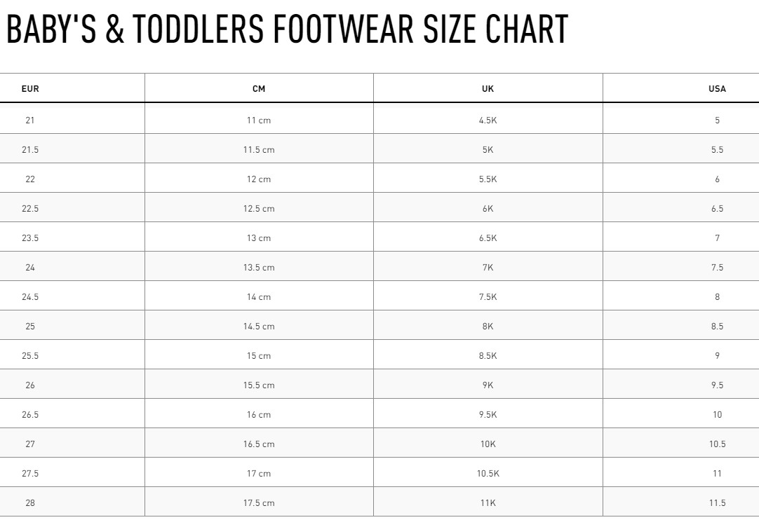 Reebok Infant Shoes size chart