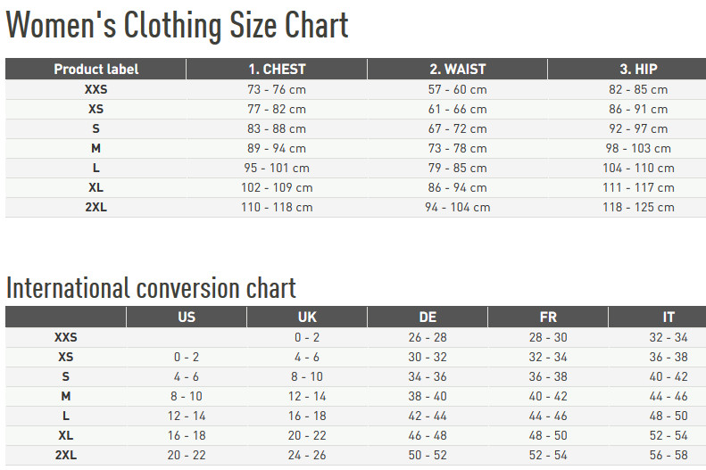 Reebok Women's apparel size chart