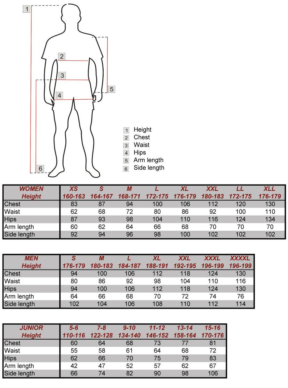Silvini apparel size chart