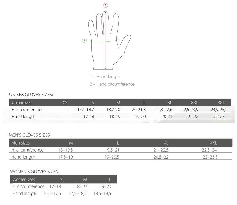 Silvini gloves size chart