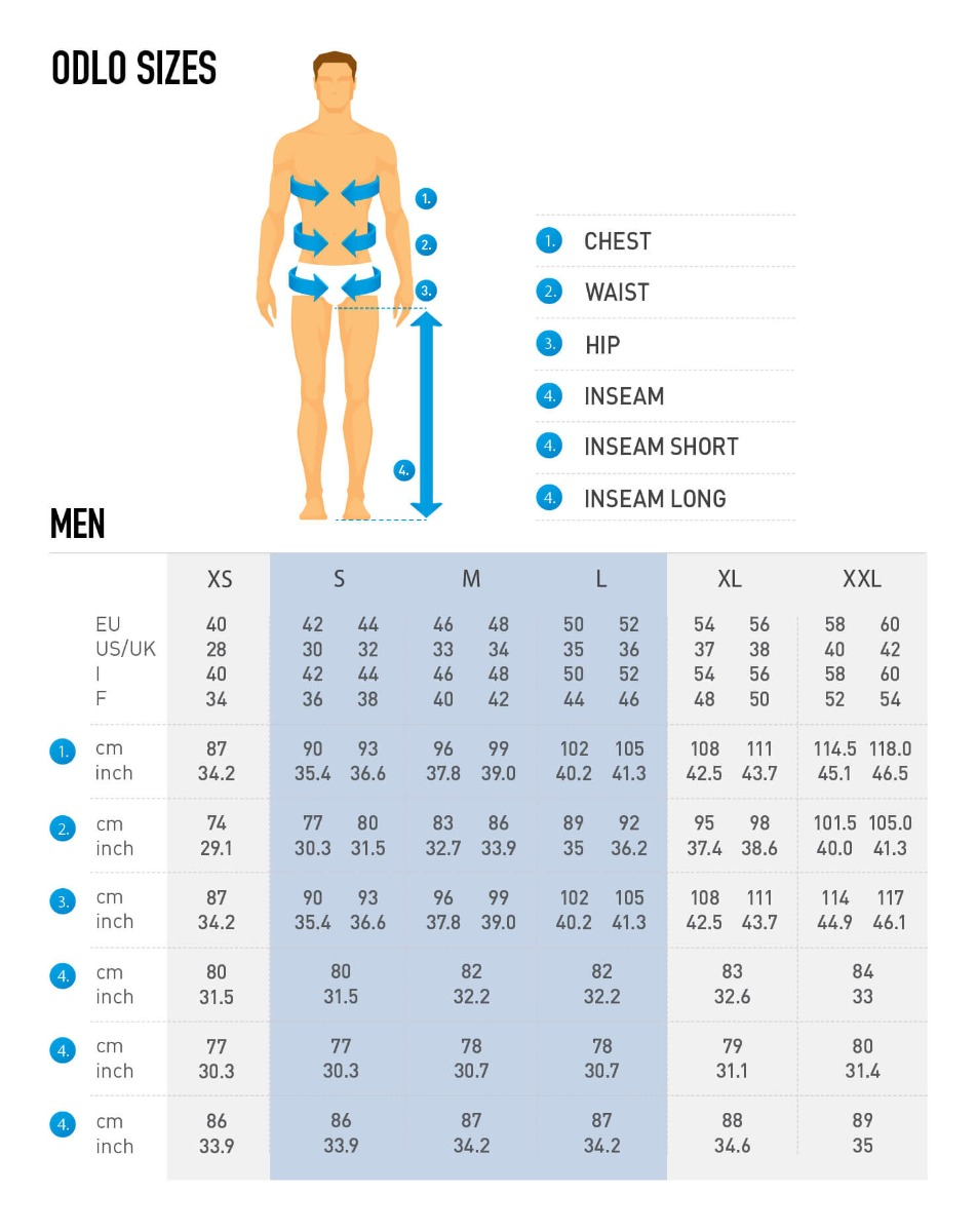 Odlo Size Chart