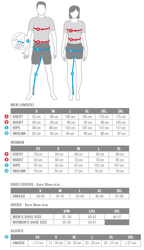 Castelli apparel size chart