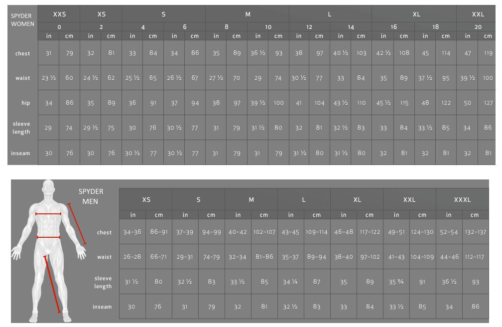 Spyder izmēru tabula