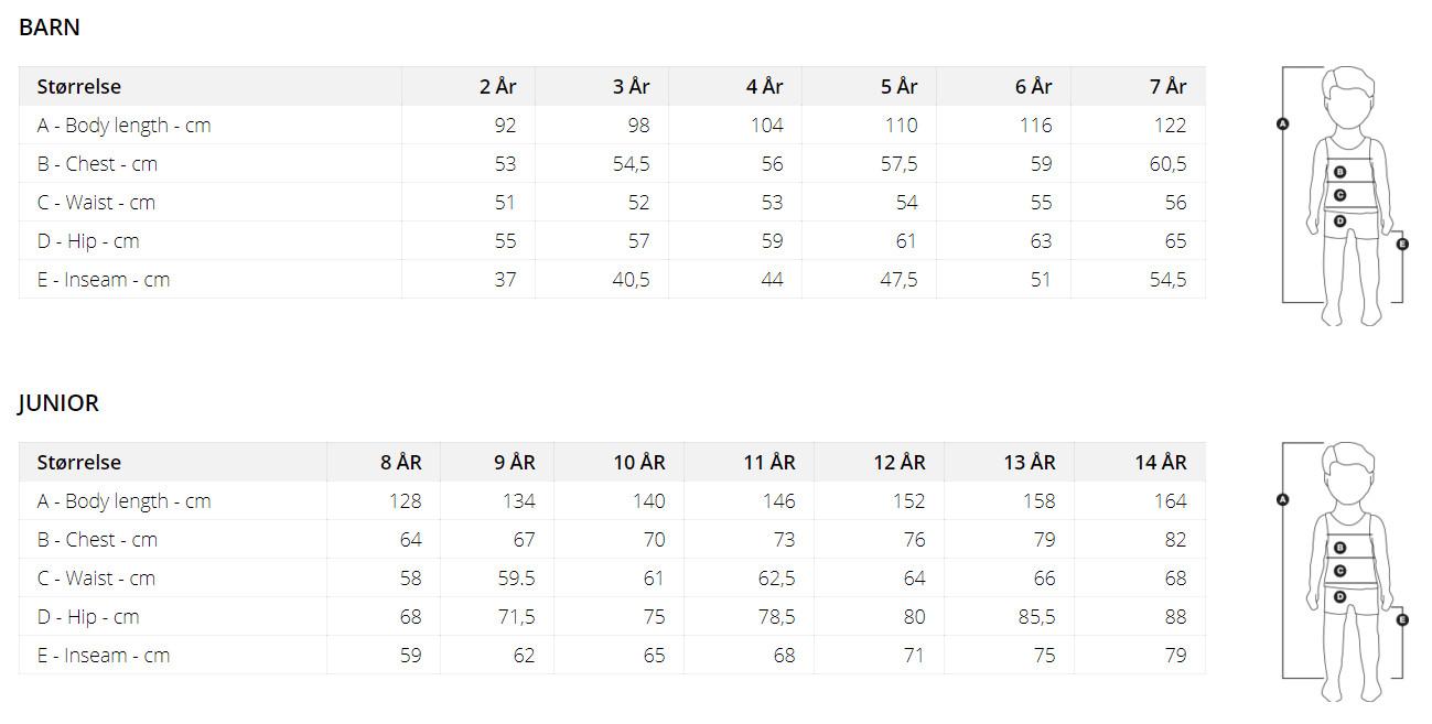 Ulvang Kid's Size chart