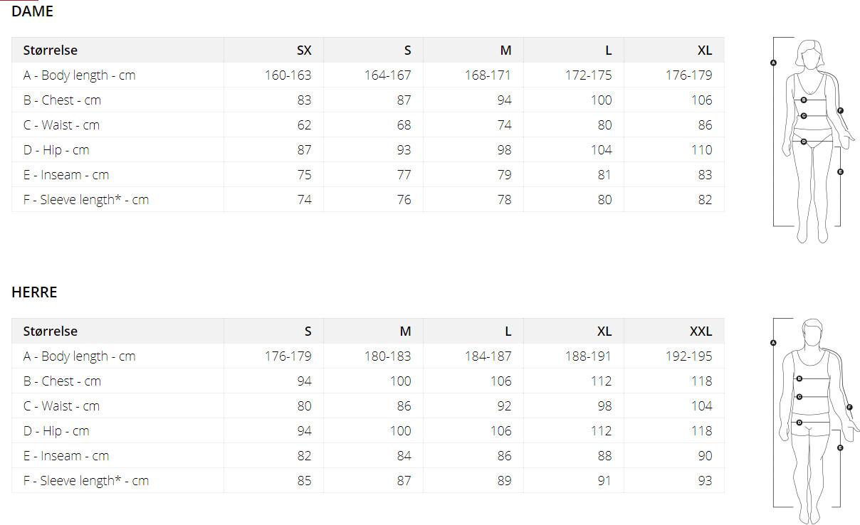 Ulvang Size Chart