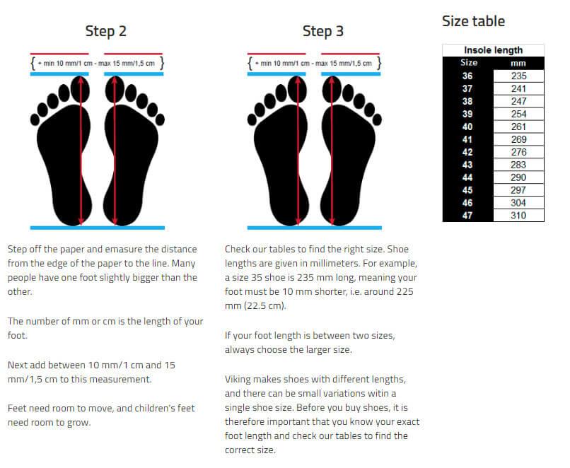 Viking Adults Shoes Size Chart