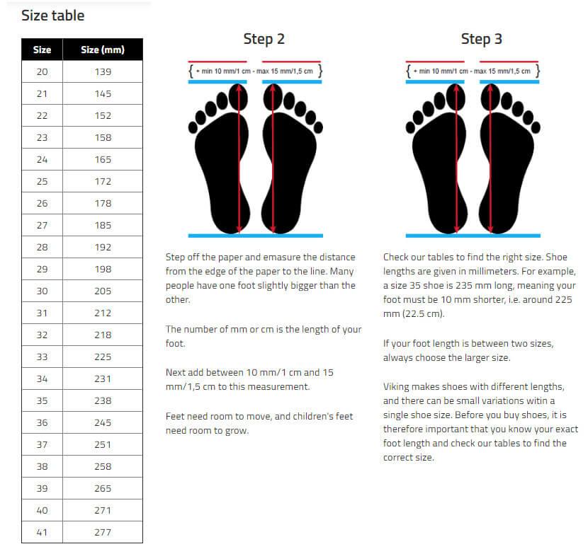 Viking Kids' Shoes Size Chart